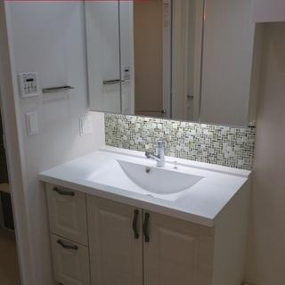 ハンセム洗面化粧台 三面鏡 ミラーキャビネット収納 W1005 ポ...