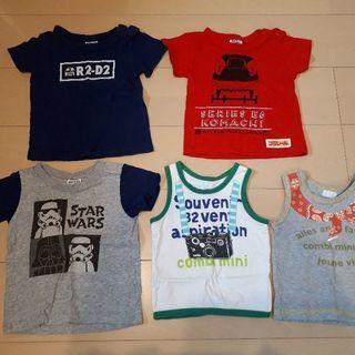 【男の子5枚set】Tシャツ80、小さめタンクトップ90