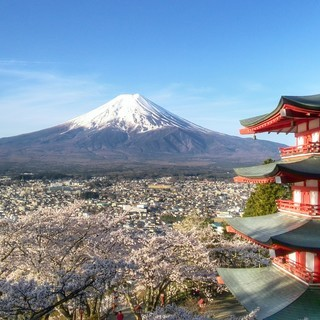 世界遺産 富士山と桜と五重塔 写真 A4又は2L版 額付き