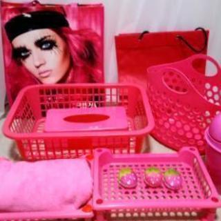 ピンク色【お部屋の模様替えに】ショッパー、ショップ袋、カゴ、リサ...
