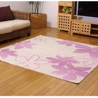 洗える ラグ 国産 綿混タフト カーペット 『ココ』 パープル ピンク
