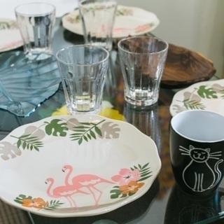 お皿&コップ&洗い物置き(はし、フォーク&スプーン付き)7人分セット