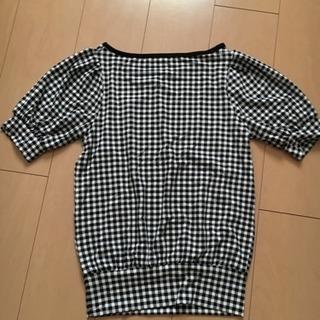 半袖 トップス【新品・未使用】白黒チェック