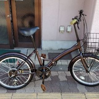 20吋 折り畳み自転車 外装6段/ブラウン