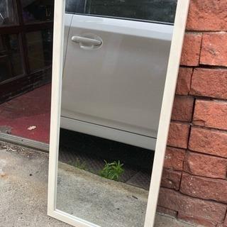 壁掛け鏡 ウォールミラー 白木目