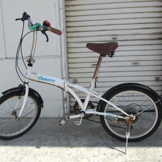 現状品 20インチ 折りたたみ自転車 6段切替 ホワイト系