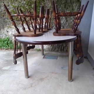 ダイニングテーブル&木製椅子5脚