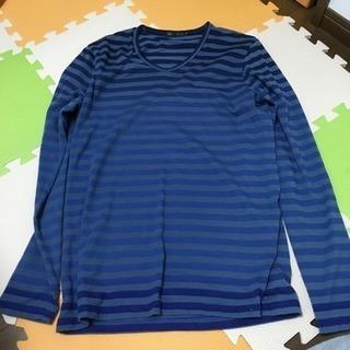 MEN'S MELROSE 長袖Tシャツ L ボーダー 青紺