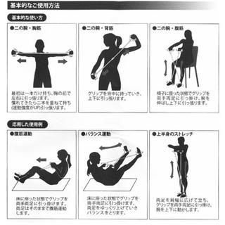 自宅で簡単 エクササイズ2対 フィットネスチューブ全長59cm 体幹トレーニング − 大阪府
