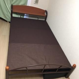 木製棚付きパイプベッド