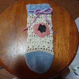 手編み♪お花付きペットボトルケース