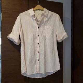 試着のみ 綿×麻 ピンクのシャツ 小さめLサイズ