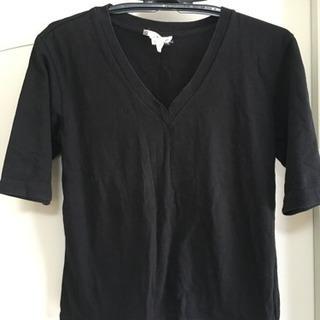 アニエス・ベー  Vネック  半袖カットソー  サイズ2  黒