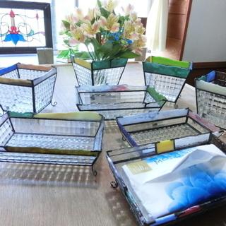 ステンドグラス鉢カバー&小物トレー