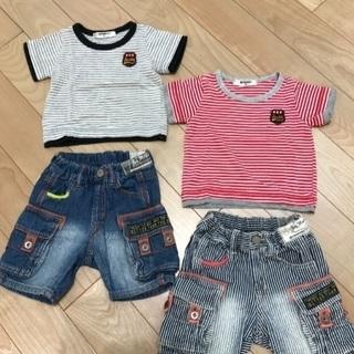 取引中 37。80㎝双子男児用Tシャツ半ズボンセット2点