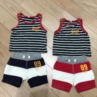 取引中 38。80㎝双子男児用Tシャツショートパンツ2セット