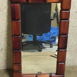 壁掛けミラー 姿見 鏡 インテリア 木製枠 幅42cm×高さ72...
