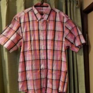 未使用!!ピンクのチェックシャツサイズXL