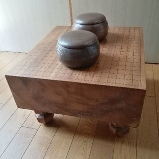 囲碁道具 足 へそ付 囲碁盤 碁石セット 板厚約14.7cm 足付...