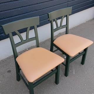 【先着順無料】ダイニングチェア 2脚セット 椅子 グリーン ベー...