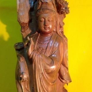 最高級インド高級白檀 観音菩薩立像 特大80cm一木彫り …