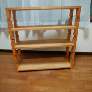 本棚、木製、白木、調節可能ラック