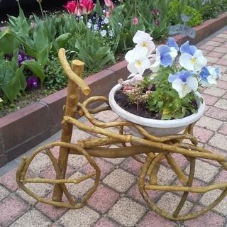 お買い得 ガーデン 雑貨 鉢置き台 木製 三輪車 花 台