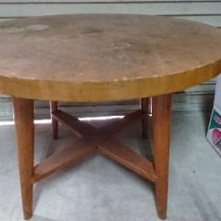 古い 円いテーブル 円卓 アンティーク ダイニングテーブル