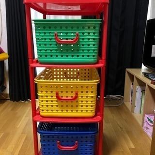 カラフル収納三段、おもちゃ箱などに