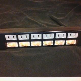 スイッチ付電源タップ6口 黒 コード2m