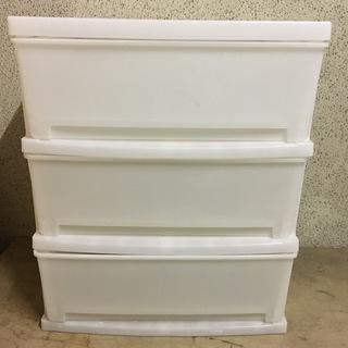 プラスチック製 3段 衣装ケース 収納ケース 衣服 ホワイト 幅5...