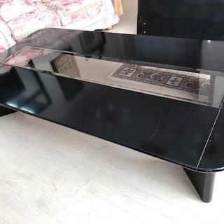 maruni ガラステーブル ローテーブル 座卓 ブラック 高...