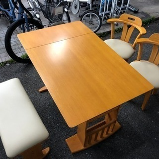 今日にでも 伸長式 ベンチ ダイニングテーブル チェア セット 4...