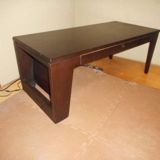 木製ローテーブル(マガジンラック付き)