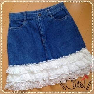 女児160cm☆可愛いデニムスカート