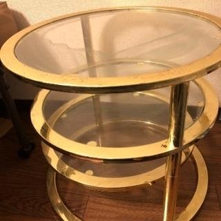 無料】ガラステーブル3段【新生活家具】引越【引取り限定】