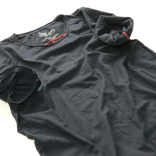4004 カットオフ 貼り合わせ縫製 ストーンウォッシュ加工 UネックTシャツ【グランドオープン セール】 − 北海道