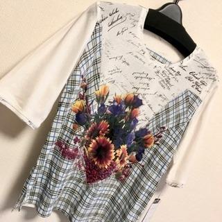 【新品】半袖 M L チェック 青 花柄 五分袖 Tシャツ 肌着...