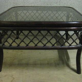籐製 座卓 ローテーブル ちゃぶ台 ガラステーブル サイドテーブ...