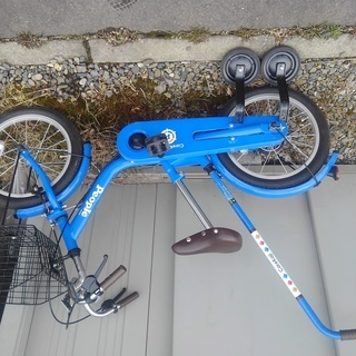 ☆美品☆ ピープル 2-6歳 自転車 補助輪、かじ取り付き