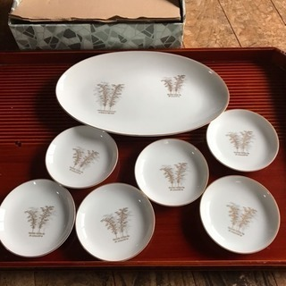 Vintage 有田 深川製磁 ( 楕円皿 & 小皿6枚セット )