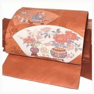 美品 御太鼓 花模様 織り柄 正絹 付け帯 名古屋 二部式 中古品