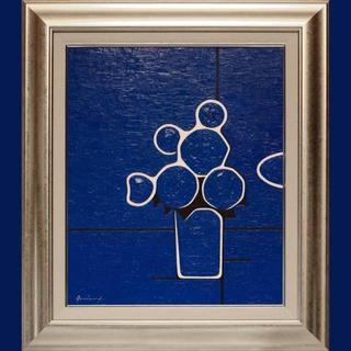 少し訳あり◆『青い花』◆がんどうあつし真作絵画油絵シルバー額縁付...
