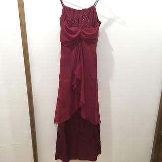 渋い赤サテン レース ドレス
