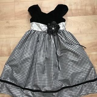 子供ドレス 発表会用 6歳前後 黒シルバー後ろリボン