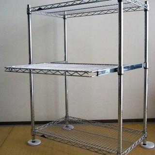 ルミナス メタルラック 3段 中段スライド棚 W76×D45×H...