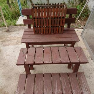 木のベンチ  2段棚  プランターカバー