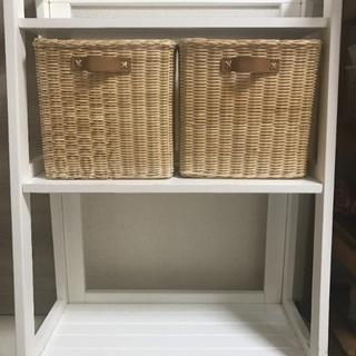 3段 木製ホワイト 収納棚+バスケット2個付