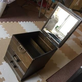【レトロ】化粧台にもなる木製の化粧品収納ケース