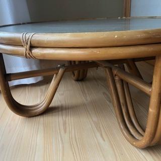 【アンティーク】円形ガラスとラタンのテーブル/お盆休み中のみ